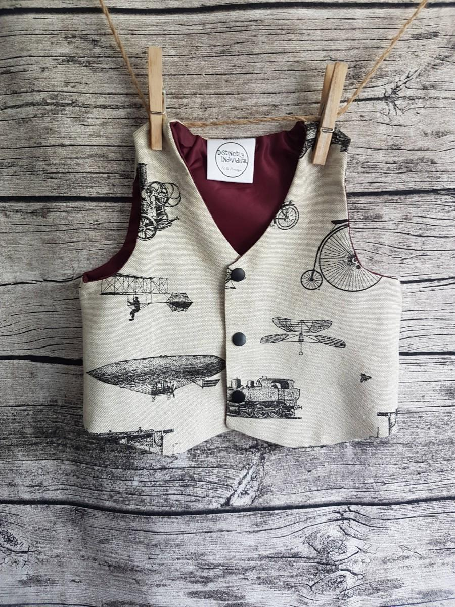 Mariage - Steampunk vehicles boys handmade wedding vest waistcoat, vintage Victorian style transport inventions, thanksgiving gift for grandson