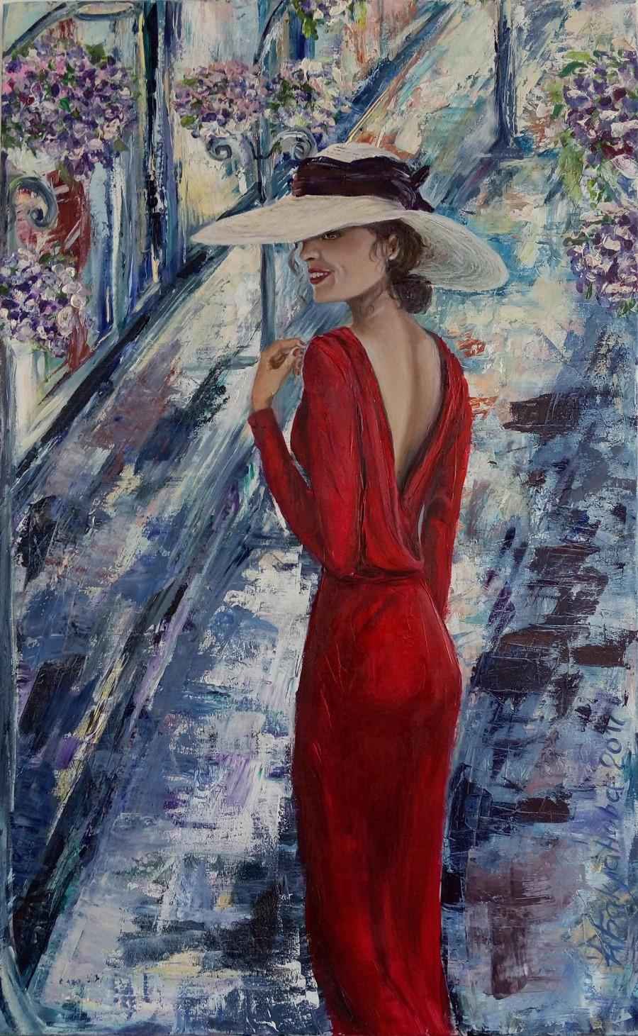 Wedding - Lady in red  50x80 cm Original mixed painting 2017 Living room decor Romantic mysterious women Impression Wall Art Colorful unique gift