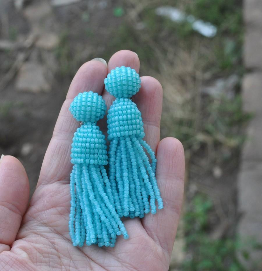 Düğün - Oscar de la Rentа earrings,long beaded tassels,SILVER stud 925 beaded earrings,beaded tassel earrings Long turquoise beaded tassel clips v