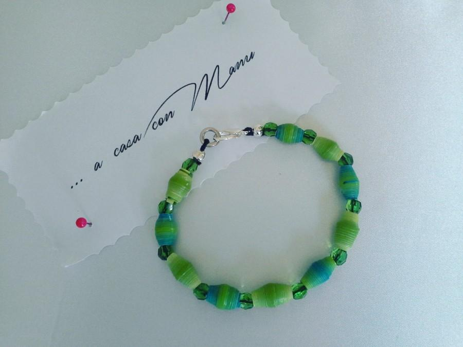Mariage - Bracciale con perle di carta verdi e azzurre, Labor Day, Bracelet with green and blue pearl paper, Perle di carta, Fatto a mano in Italia