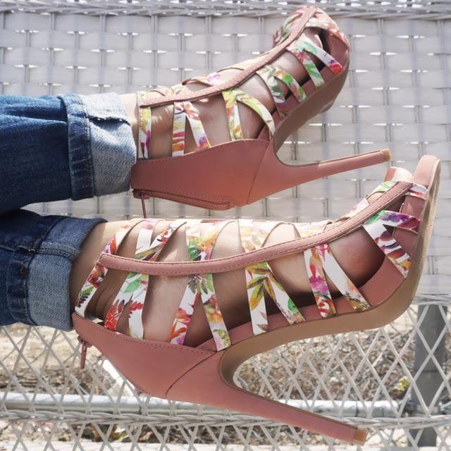 زفاف - Mauve Floral Strappy Open Toe Single Sole High Heels Nubuck Faux Leather
