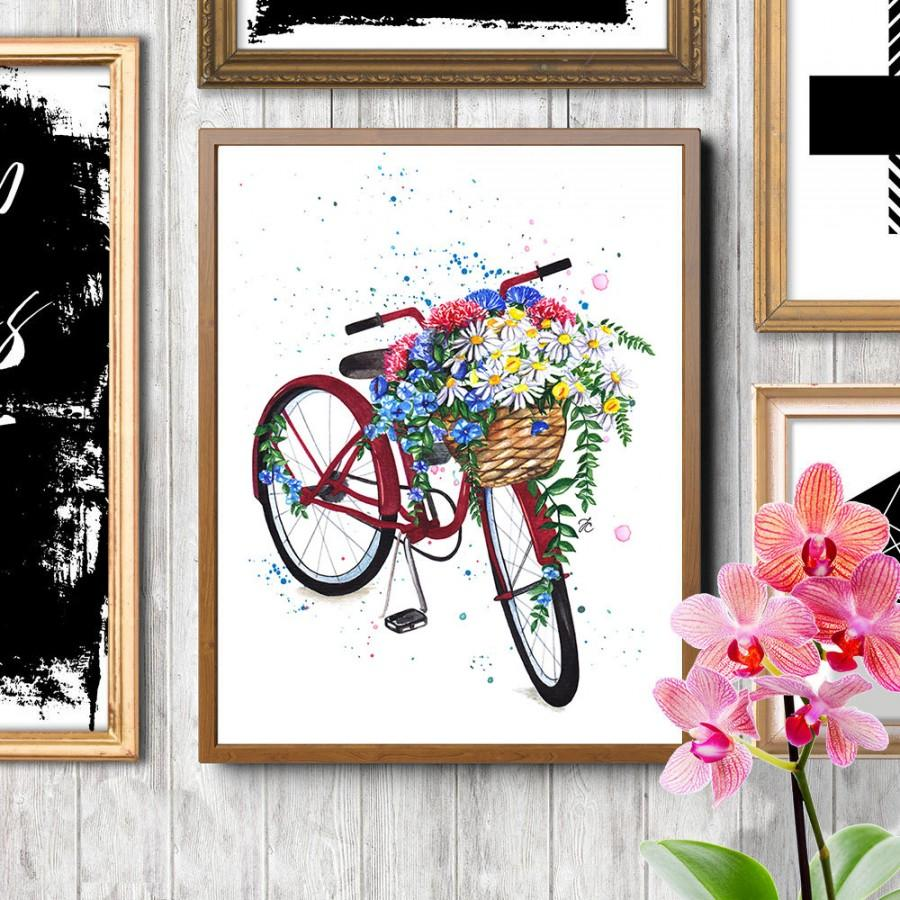 Hochzeit - Bicycle art, Bicycle with flowers, Floral bicycle, Fashion illustration, Fashion watercolor,Fashion poster,Watercolor flowers, Bicycle print