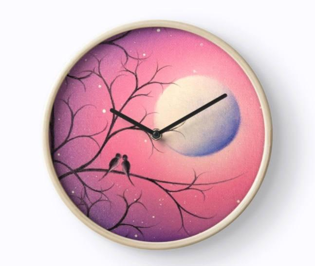 Boda - Birds Wall Clock, Purple Starry Night Wooden Wall Clock, Birds on Tree Branch, Love Birds Home Decor, Bedroom Clock, Whimsical Office Decor