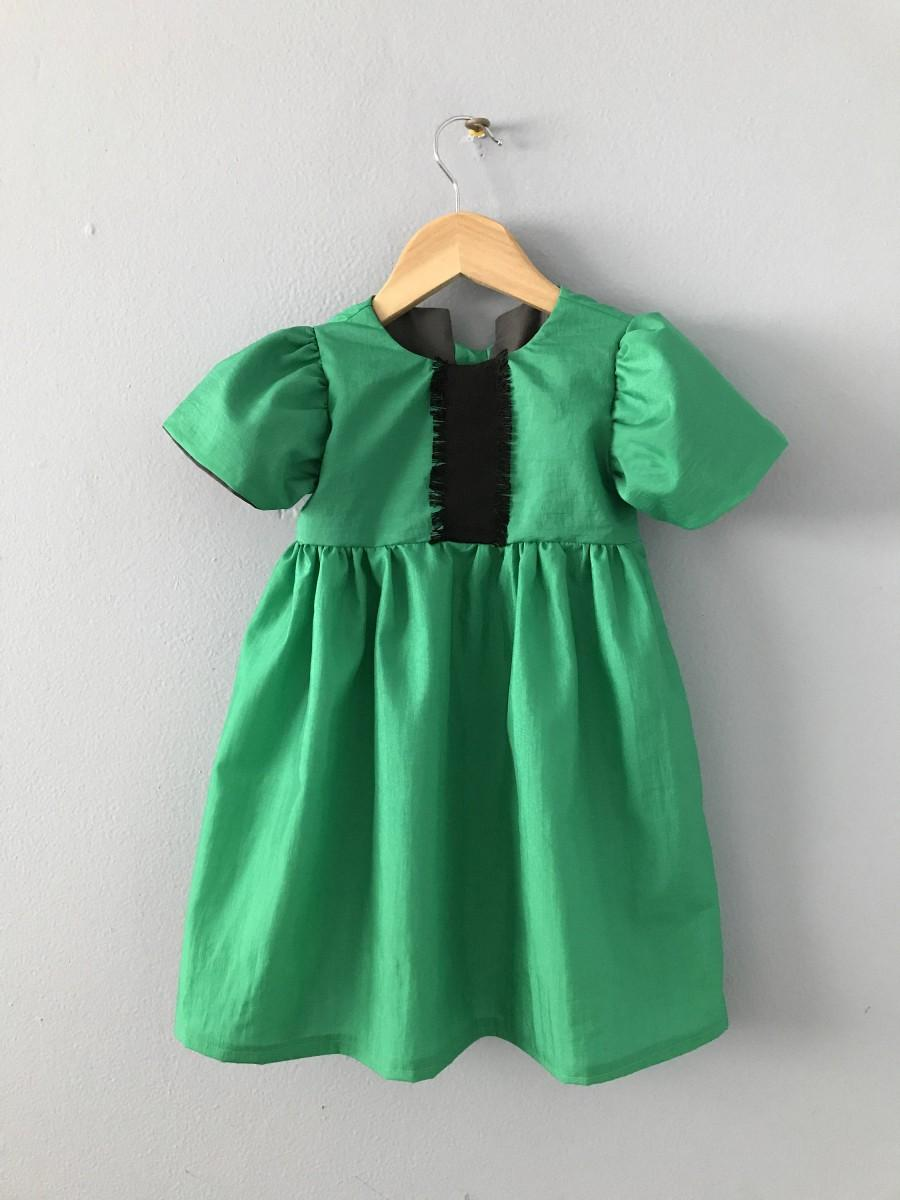 Wedding - Tellurite Girls Dress, Holiday Dress, Christmas Dress, Toddler Dress, Green Dress, Girls Green Dress, Girls Ruffle Dress Size 1