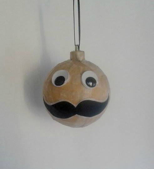 Wedding - Unique Christmas Ornament /  Weird and Fun Mustache Ornament