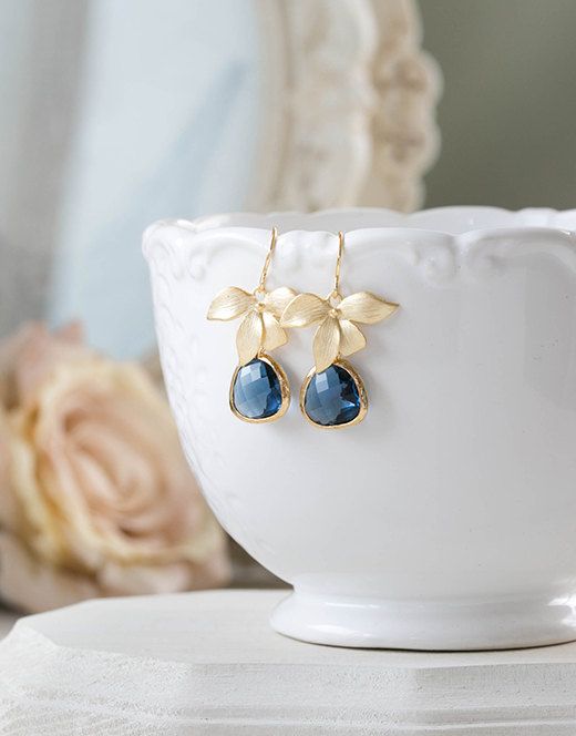Wedding - Navy Blue Earrings, Sapphire Blue Earrings with Gold Orchid Flower, Navy Wedding Jewelry, Bridesmaid Earrings, September Birthstone Jewelry