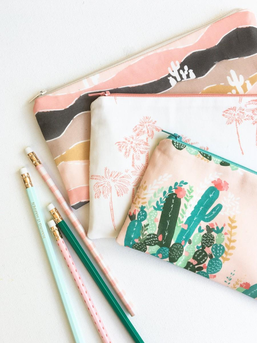 Wedding - School Supplies, Palm Springs Zipper Pouch, Back to School Pencil Case, Pencil Pouch College Kids Gift for Women Blush Desert Organizer Bags
