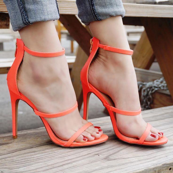 59f71e3e8a4 Neon Coral Strappy Single Sole Sandal High Heels Faux Leather ...