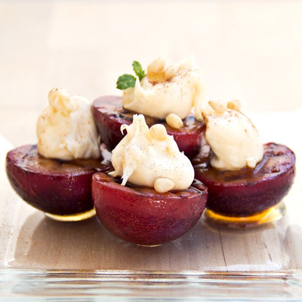 Boda - Grilled Cinnamon Plums With Sweetened Mascarpone
