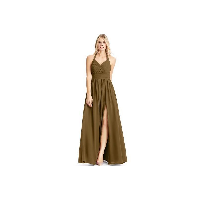 2847ea7382b Brown Azazie Veronica - Floor Length Halter Chiffon Back Zip Dress - Cheap  Gorgeous Bridesmaids Store