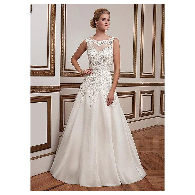 Wedding - Alluring Organza Bateau Neckline A-line Wedding Dresses with Lace Appliques - overpinks.com