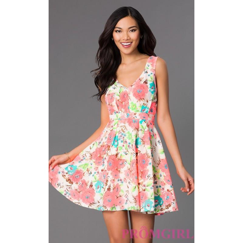 Wedding - Short Sleeveless Neon Floral Print Dress - Brand Prom Dresses