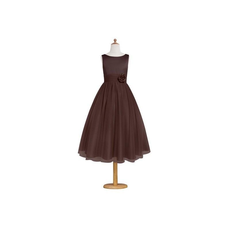 Hochzeit - Chocolate Azazie Rudy JBD - Boatneck Tea Length Satin And Tulle Back Zip Dress - Cheap Gorgeous Bridesmaids Store