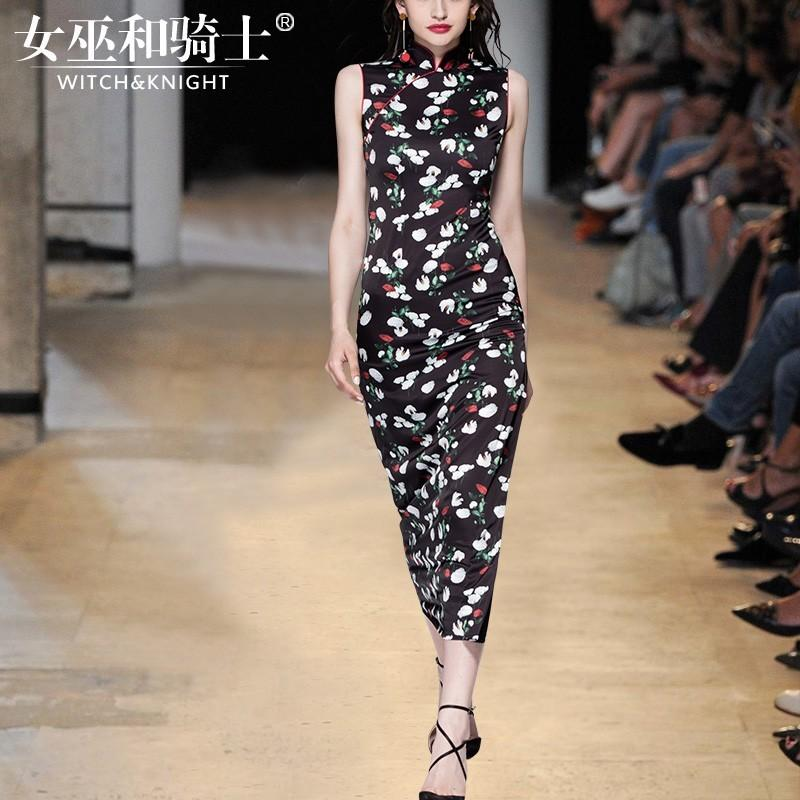 Mariage - Chinese Printed Slimming High Neck Sleeveless Summer Dress - Bonny YZOZO Boutique Store