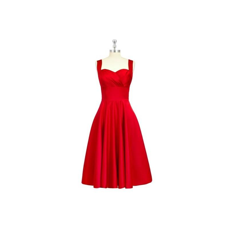 Mariage - Red Azazie Amber - Sweetheart Back Zip Satin Knee Length Dress - Charming Bridesmaids Store