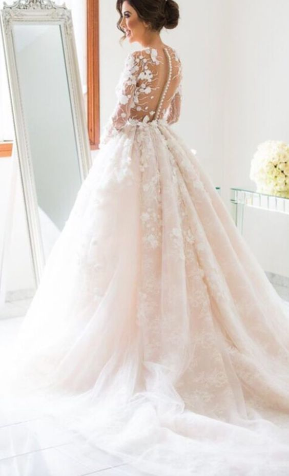 Long sleeve floral applique blush ballgown wedding dress for Wedding dress with applique