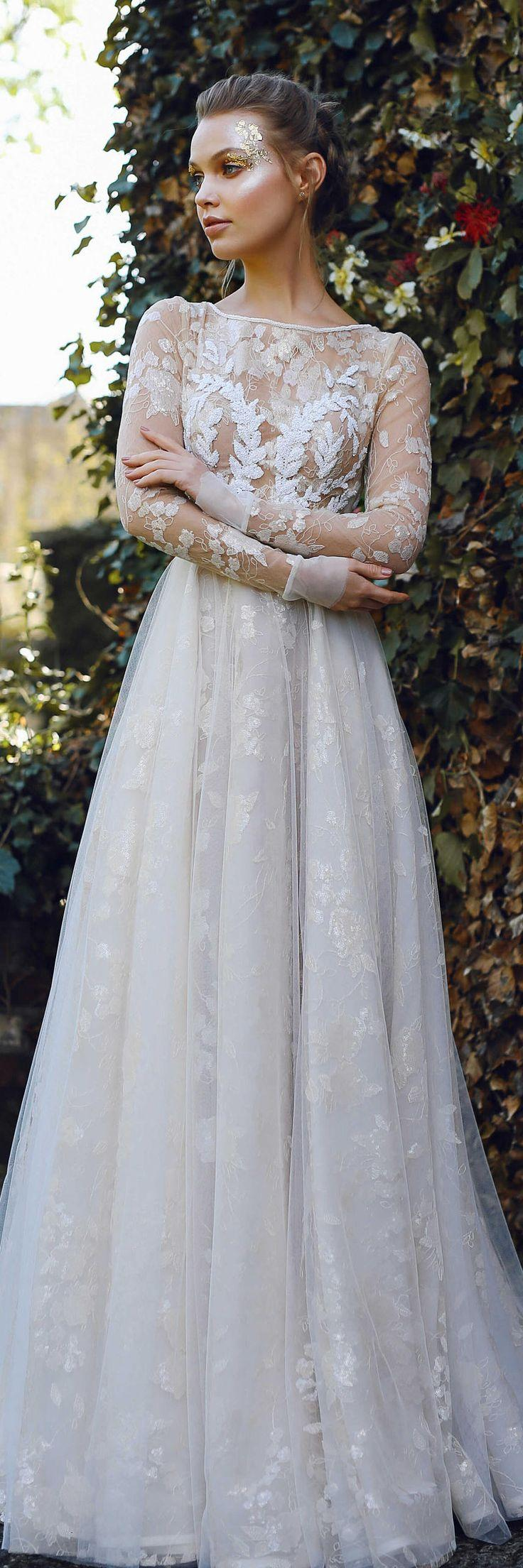 زفاف - Wedding Dress ILAYN, Couture Wedding Dress, Long Sleeved Wedding Dress, Milk