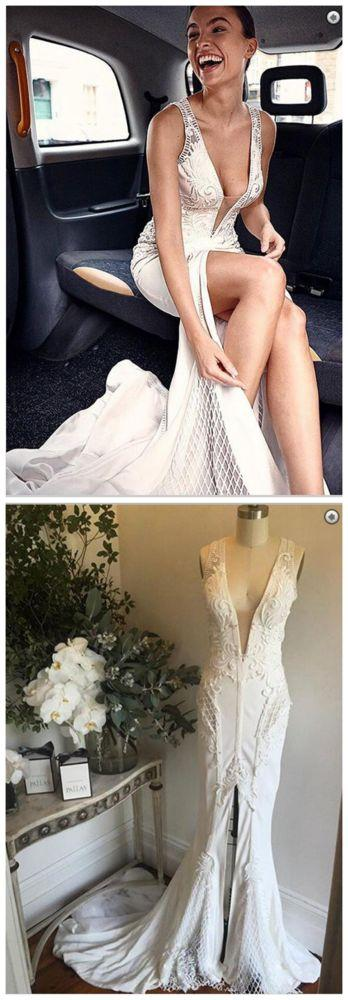 Mariage - Sexy Deep V-Neck Court Train Split Front Mermaid Wedding Dress With Lace