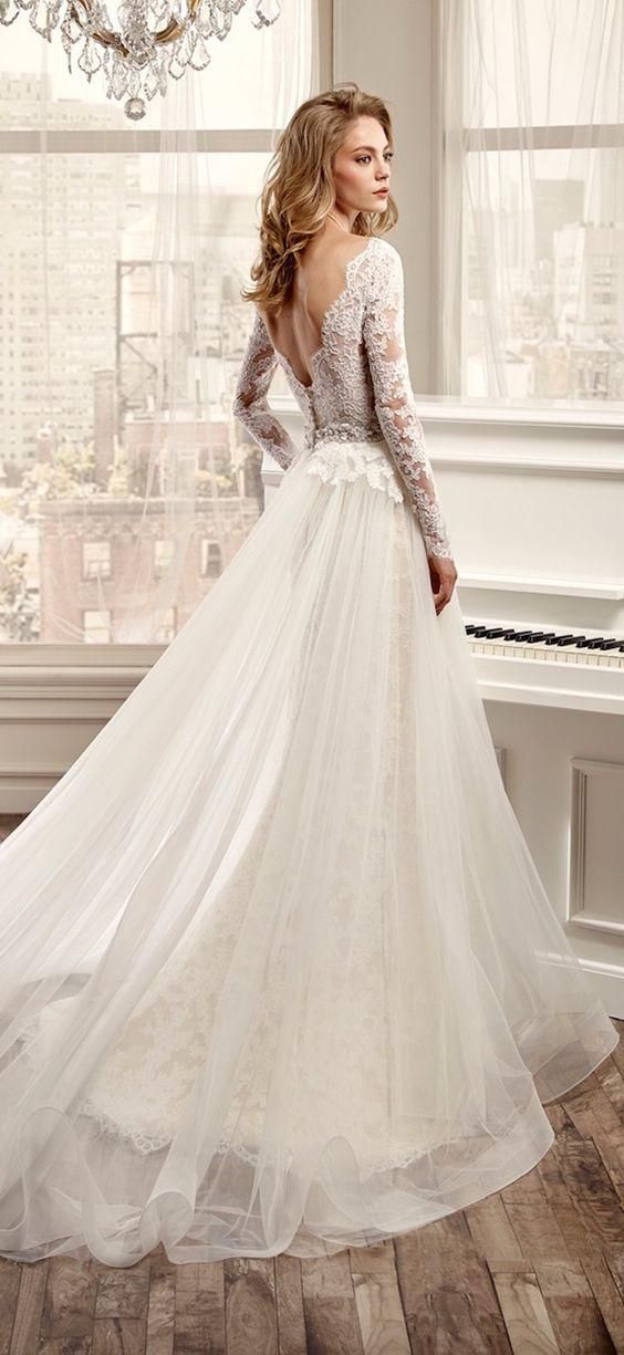 Hot Sale Long Sleeve Wedding Dresses With V-Neck Open Back Lace And ...