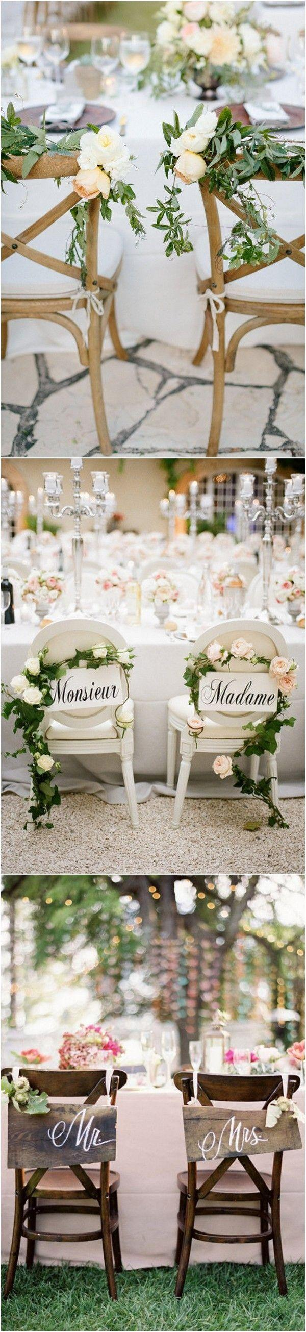 Mariage - 12 Chic Bride And Groom Wedding Chair Decoration Ideas