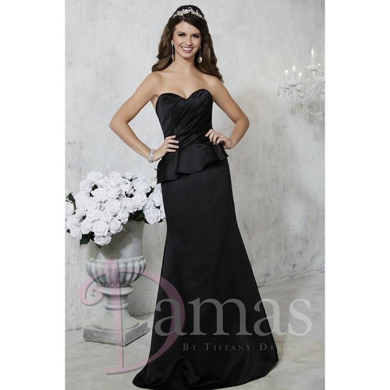 Damas 52354 Peplum Skirt Lace Up Back Fit And Flare Strapless Sweetheart Satin Long Bridesmaids Dress 2017 New Wedding Dresses
