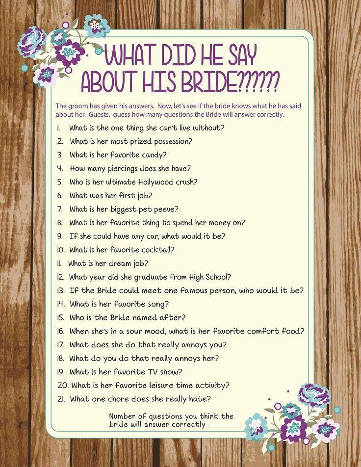 What did he say about his bride bridal shower game for Wedding shower games ideas