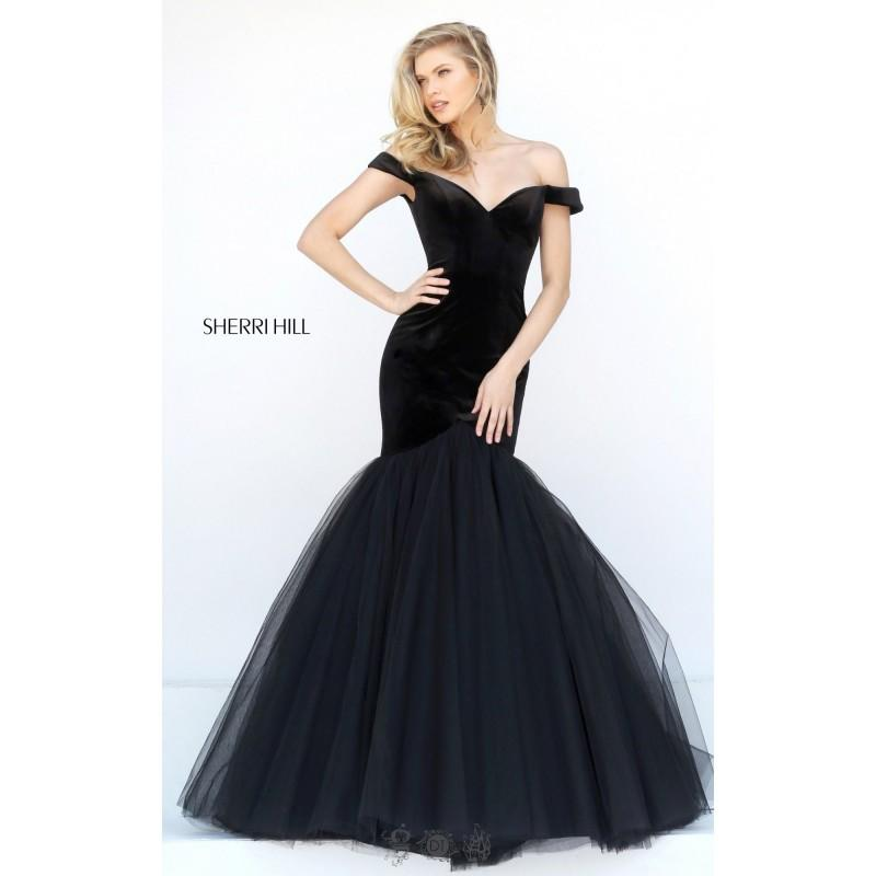 Wedding - Black Sherri Hill 50717 - Mermaid Simple Dress - Customize Your Prom Dress