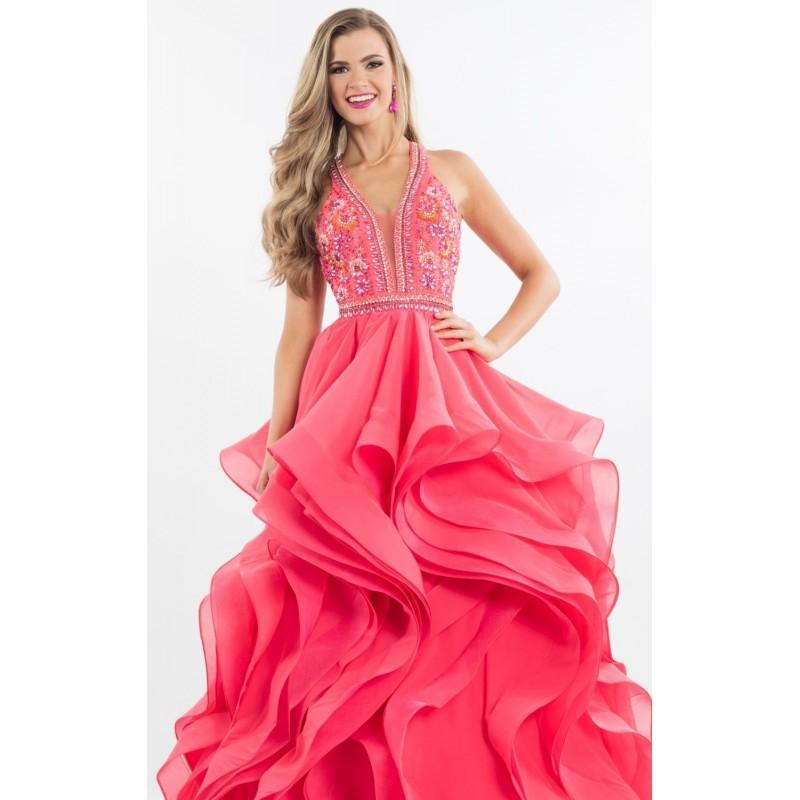 Wedding - Watermelon Beaded Ruffled Chiffon Gown by Rachel Allan - Color Your Classy Wardrobe