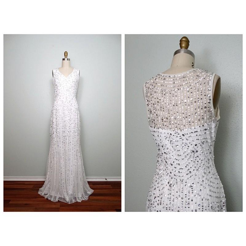 Wedding - VTG Inspired Silver Sequined Gown // White Sequin Embellished Dress // Sheer Back Wedding Dress Size 8 - Hand-made Beautiful Dresses