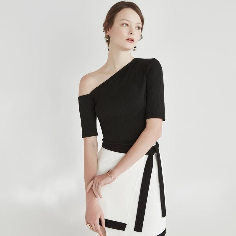 Wedding - Must-have Simple Vintage Slimming One-Shoulder Off-the-Shoulder T-shirt Top - Bonny YZOZO Boutique Store