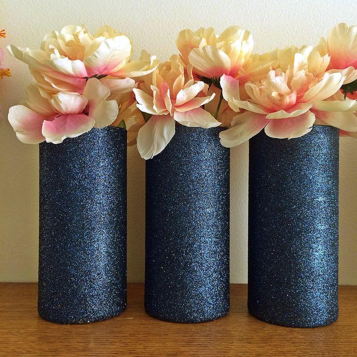 3 Navy Vases Glass Vases Glitter Vases Wedding Centerpiece