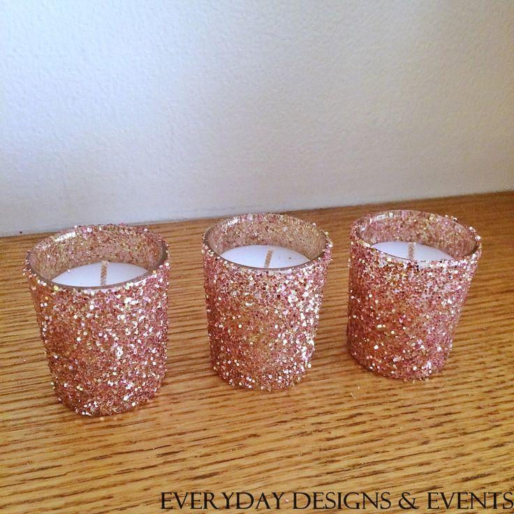 25 Rose Gold Votive Candle Holders Wedding Centerpiece Rose Gold