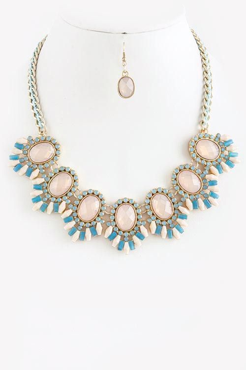Hochzeit - Pastel Tone Link Statement Necklace Set