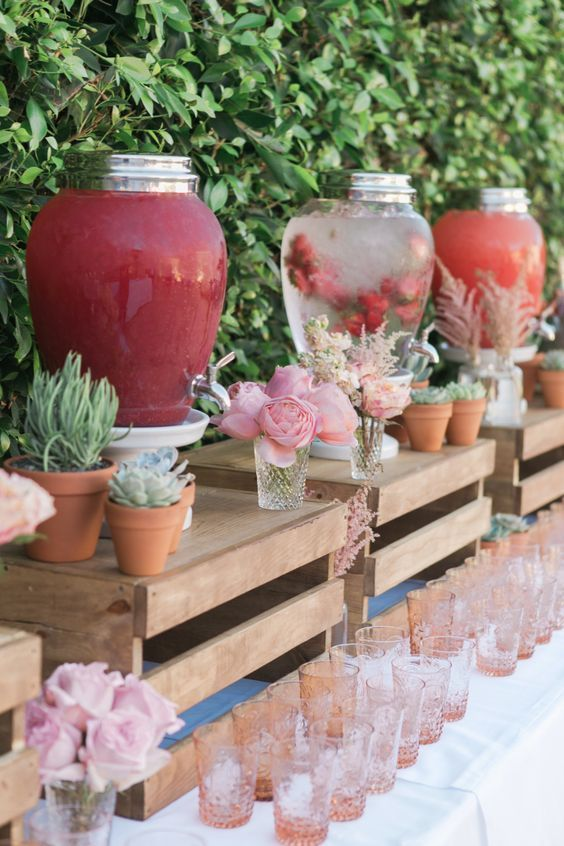 Boda - 40 Creative Wedding Drink Bar & Station Decor Ideas