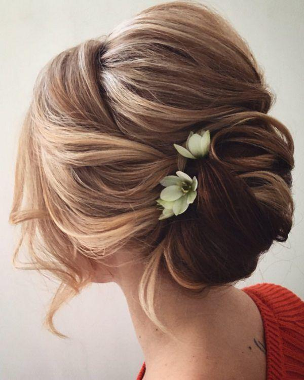 Medium Wavy Casual Asymmetrical Updo Hairstyle With Side Swept Bangs Brunette View