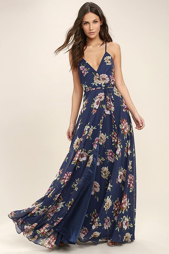 Mariage - Always There For Me Navy Blue Floral Print Wrap Maxi Dress