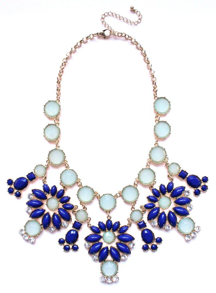 Mariage - Jeweled Floral Snowflakes Statement Necklace- Blue