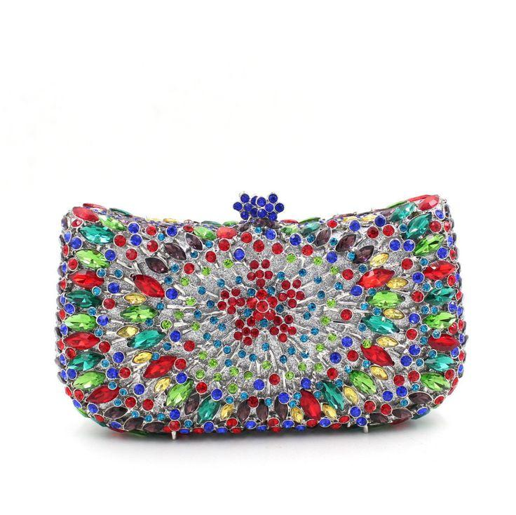 Hochzeit - Full Crystal Neon Rhinestone Bling Clutch For Prom