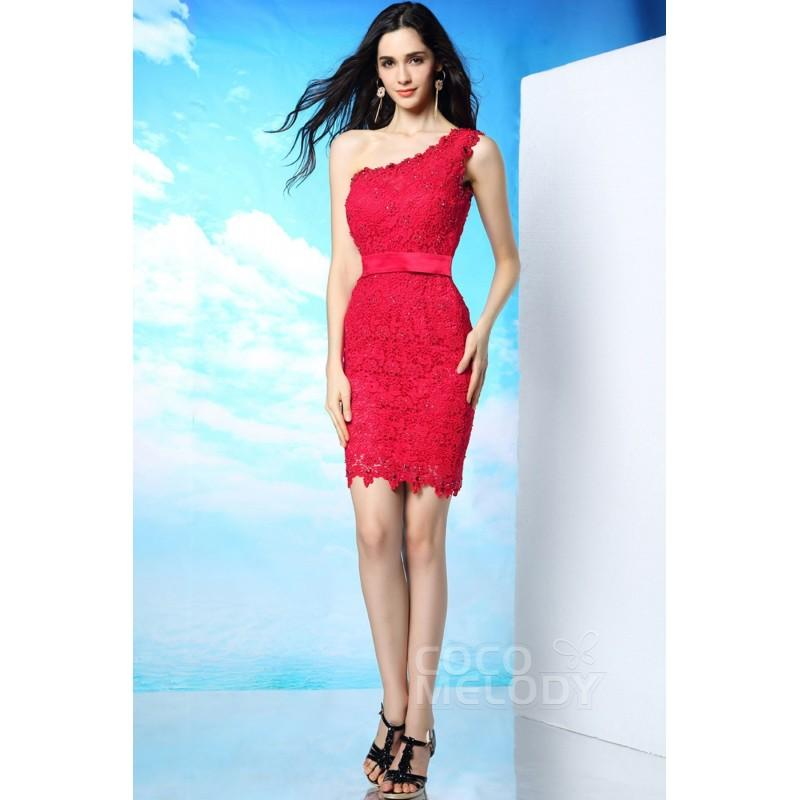 8a03b40f912 Fashion Sheath-Column One Shoulder Natural Short-Mini Lace Sleeveless Side  Zipper Party Dress with Ribbons and Sequin COSM15001 - Top Designer Wedding  ...