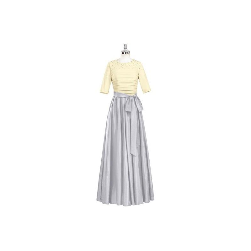 Wedding - Silver Azazie Lexi - Taffeta And Jersey Scoop Stretch Knit Back Zip Floor Length Dress - Cheap Gorgeous Bridesmaids Store