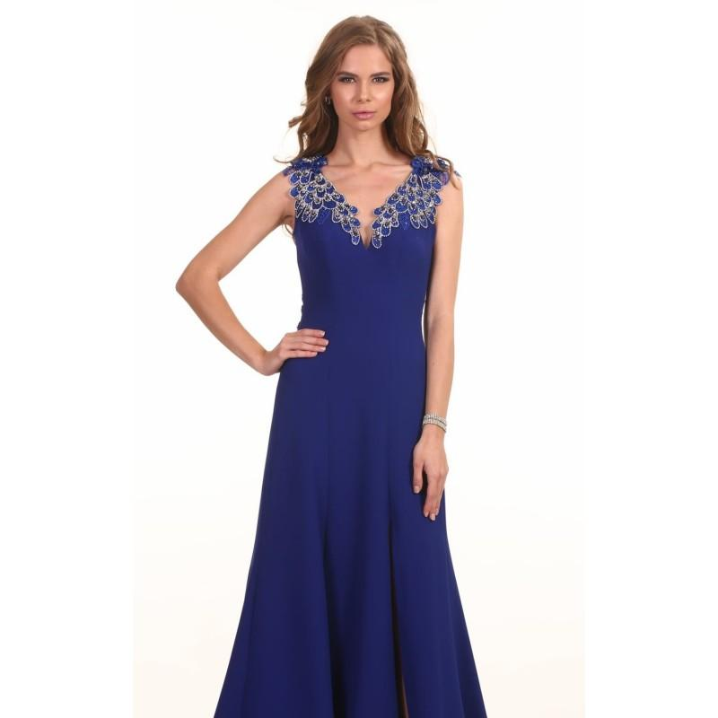 Saks Blue Beaded Crepe Long Gown By Omur Ozer - Color Your Classy ...