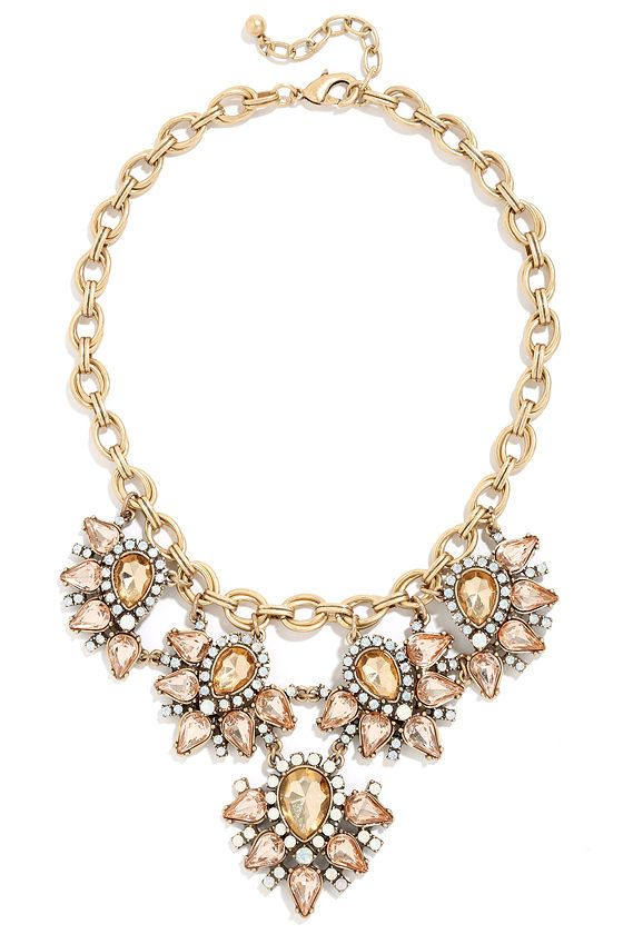Mariage - Paradise Frost Blush Rhinestone Statement Necklace