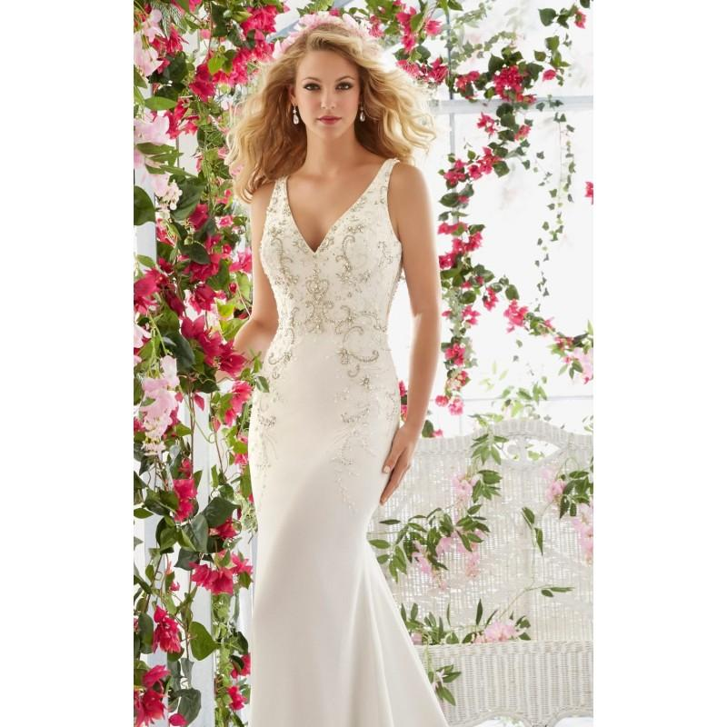 Wedding - Beaded Crepe Slim Gown by Voyage by Mori Lee - Color Your Classy Wardrobe