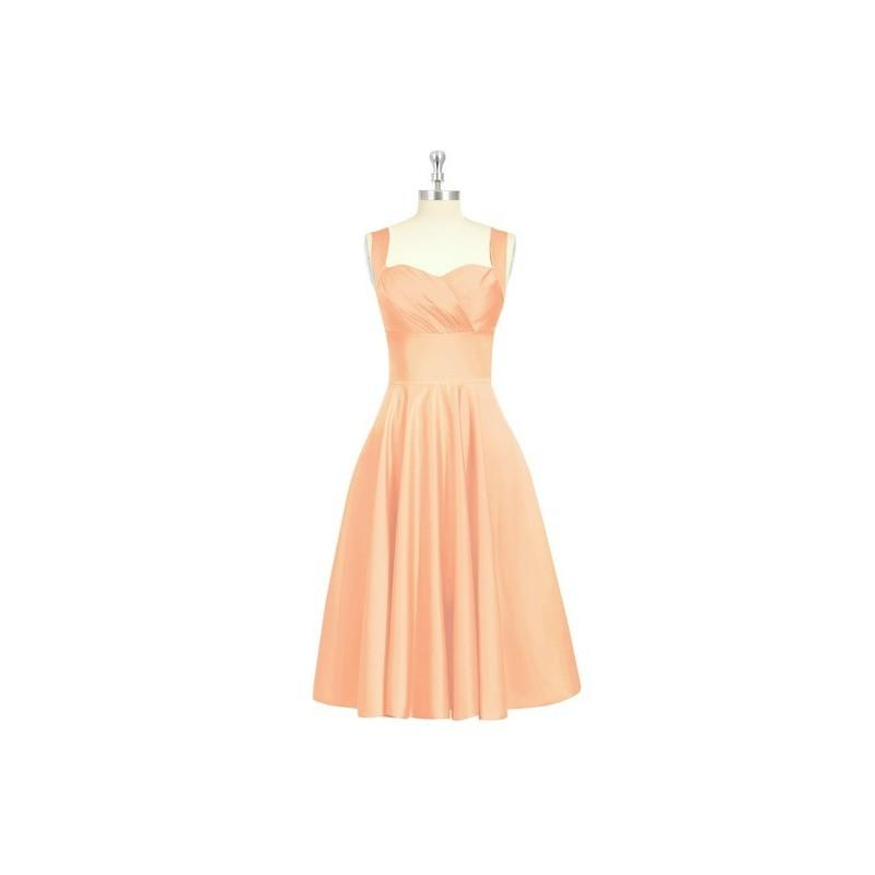 Wedding - Coral Azazie Amber - Knee Length Satin Back Zip Sweetheart Dress - Cheap Gorgeous Bridesmaids Store