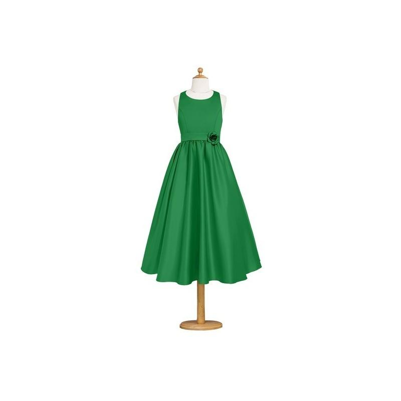 Wedding - Emerald Azazie Coraline JBD - Tea Length Scoop Strap Detail Satin Dress - Cheap Gorgeous Bridesmaids Store