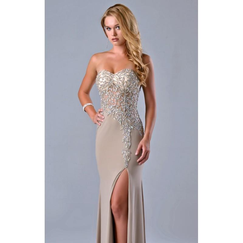 Wedding - Beaded Slit Gown Dress by Nina Canacci 9045 - Bonny Evening Dresses Online