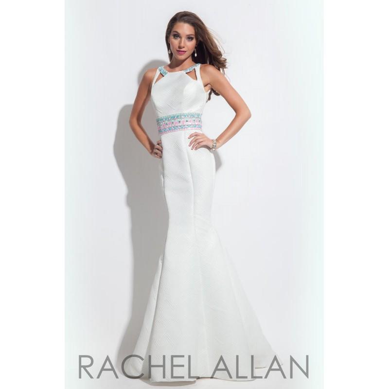 Wedding - Rachel Allan Prom 7118 White,Black Dress - The Unique Prom Store