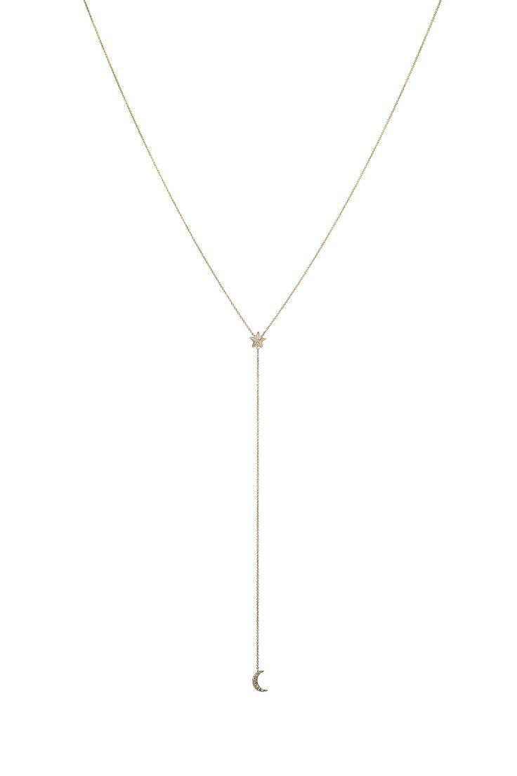 Wedding - Apollonia Diamond Moon & Star Lariat Necklace