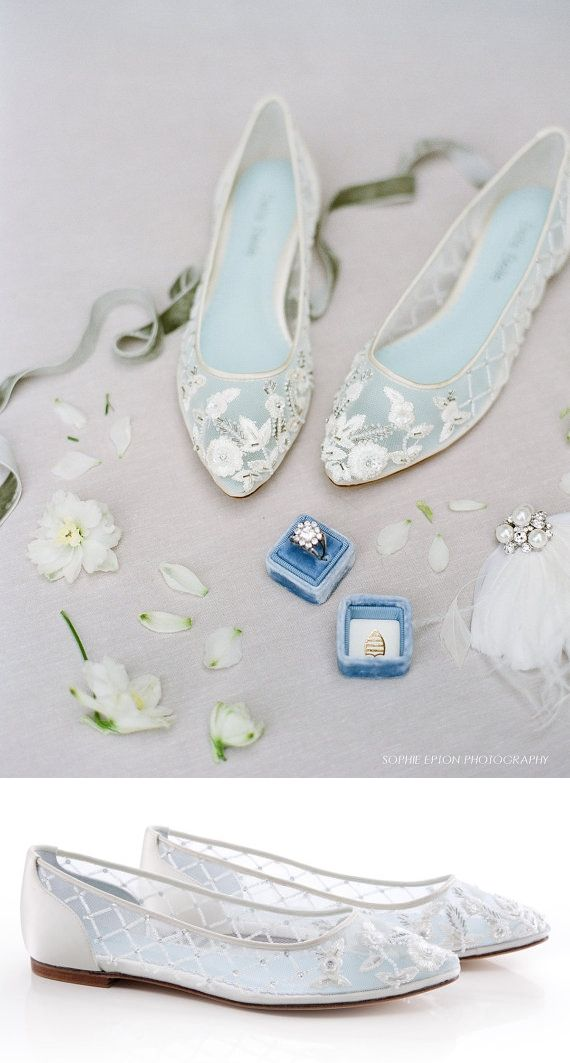 1e6354564e81f4 Comfortable Wedding Flats With Flower Beading Bridal Flats - Glass Slipper  With  Something Blue  Bella Belle Shoes Allegra