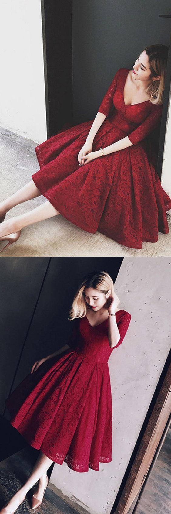 Свадьба - V Neck Half Sleeves Burgundy Lace Homecoming Dress Short Prom Dress PG104